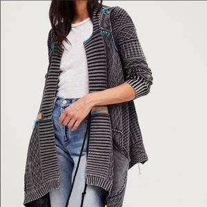 FREE PEOPLE All Washed Out Black Combo Cardigan